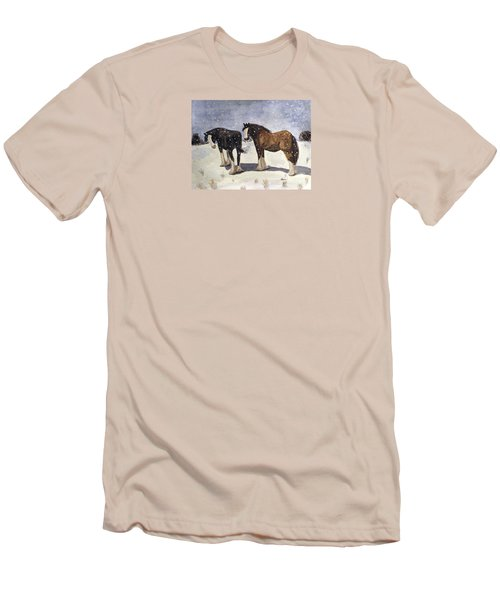 Men's T-Shirt (Slim Fit) featuring the painting Chance Of Flurries by Angela Davies