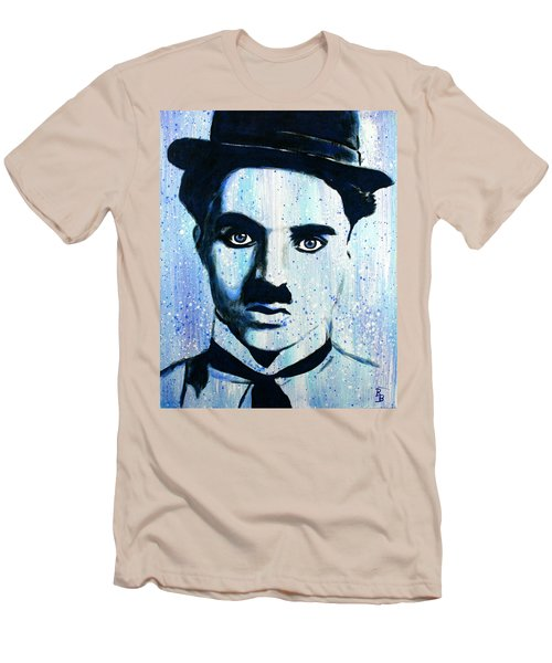 Men's T-Shirt (Athletic Fit) featuring the painting Charlie Chaplin Little Tramp Portrait by Bob Baker