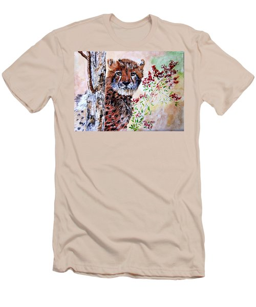 Cheetah Behind A Tree Men's T-Shirt (Slim Fit) by Maris Sherwood