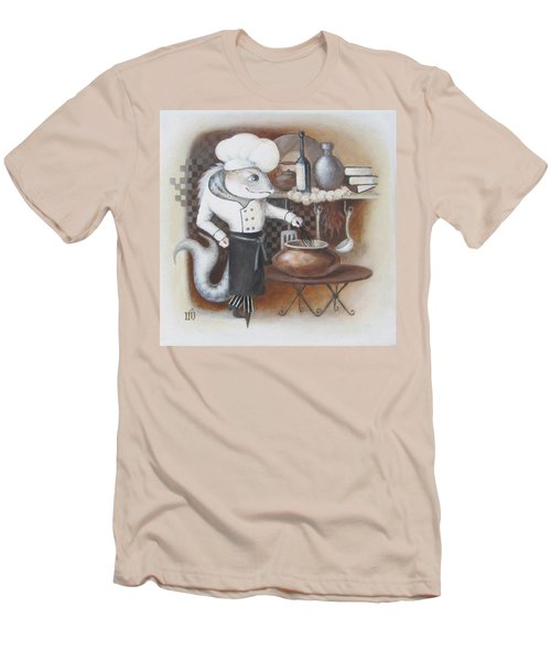 Men's T-Shirt (Slim Fit) featuring the painting Chef by Marina Gnetetsky