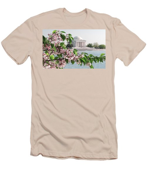 Men's T-Shirt (Slim Fit) featuring the photograph Cherry Blossoms And The Jefferson Memorial 2 by Mitchell R Grosky