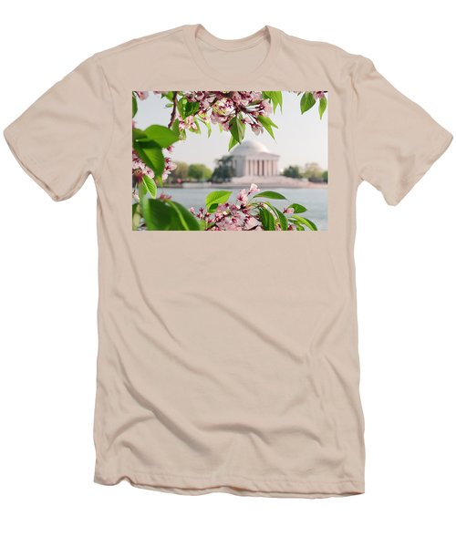 Men's T-Shirt (Slim Fit) featuring the photograph Cherry Blossoms And The Jefferson Memorial by Mitchell R Grosky