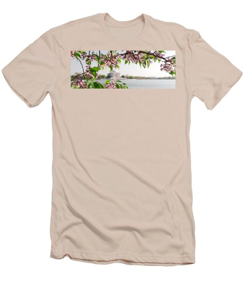 Men's T-Shirt (Slim Fit) featuring the photograph Cherry Blossoms And The Jefferson Memorial Panorama by Mitchell R Grosky