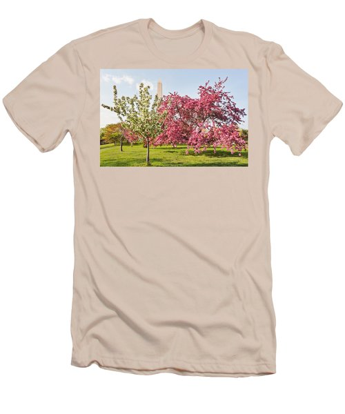 Cherry Trees And Washington Monument Three Men's T-Shirt (Athletic Fit)