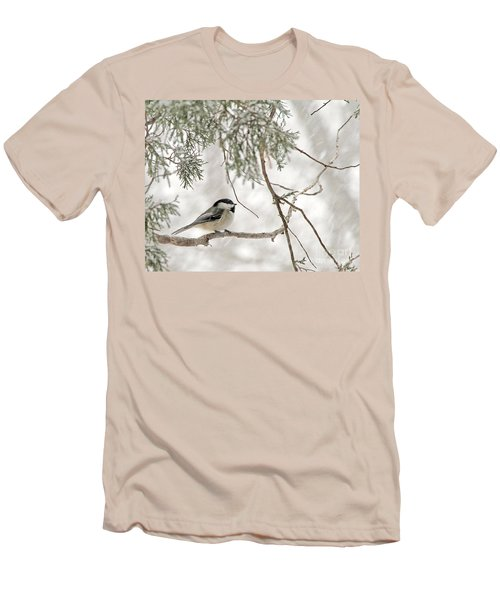 Men's T-Shirt (Slim Fit) featuring the photograph Chickadee In Snowstorm by Paula Guttilla