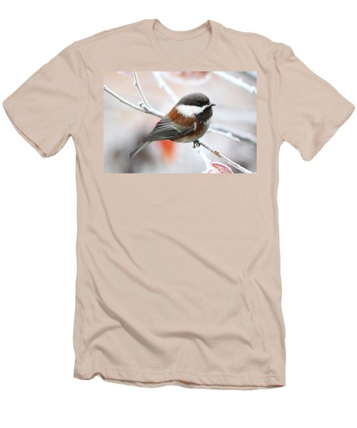 Men's T-Shirt (Slim Fit) featuring the photograph Chickadee In Winter by Peggy Collins