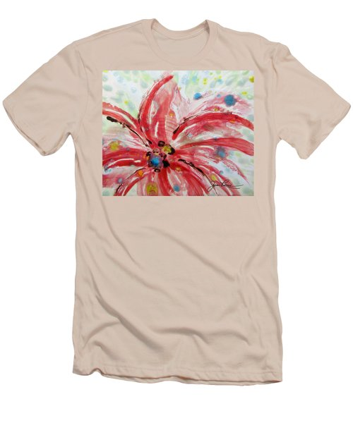 Men's T-Shirt (Slim Fit) featuring the painting Chinese Red Flower by Joan Reese