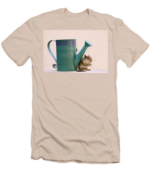 Men's T-Shirt (Slim Fit) featuring the photograph Chipmunk And Watering Can by Peggy Collins