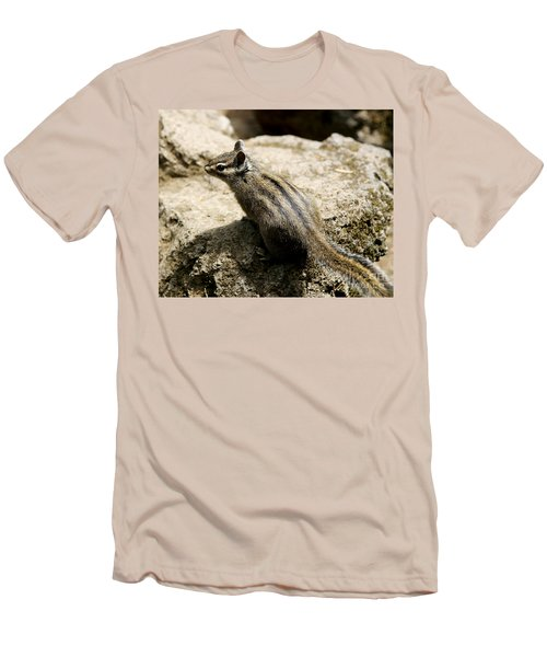 Men's T-Shirt (Slim Fit) featuring the photograph Chipmunk On A Rock by Belinda Greb