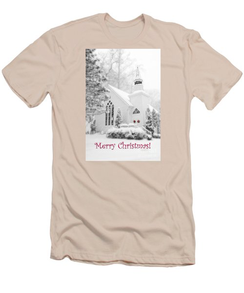 Historic Church Oella Maryland - Christmas Card Men's T-Shirt (Athletic Fit)