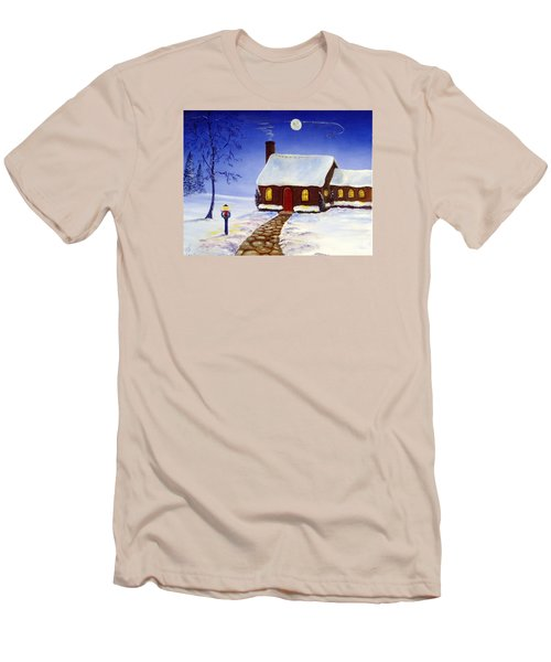 Men's T-Shirt (Slim Fit) featuring the painting Christmas Eve by Lee Piper
