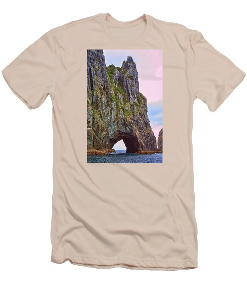 Coastal Rock Open Arch Men's T-Shirt (Slim Fit) by Linda Phelps