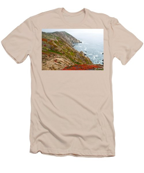 Colorful Cliffs At Point Reyes Men's T-Shirt (Slim Fit) by Jeff Goulden