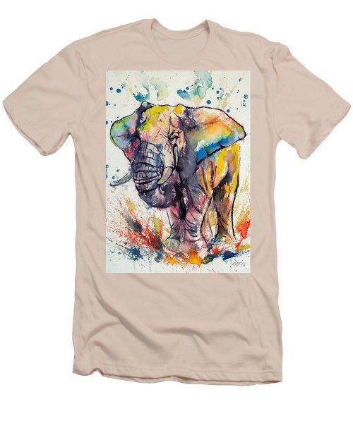 Colorful Elephant Men's T-Shirt (Slim Fit) by Kovacs Anna Brigitta
