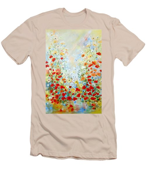 Colorful Field Of Poppies Men's T-Shirt (Slim Fit) by Dorothy Maier