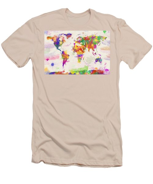 Colorful Watercolor World Map Men's T-Shirt (Athletic Fit)