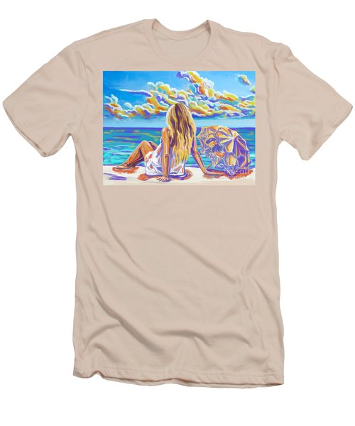 Colorful Woman At The Beach Men's T-Shirt (Athletic Fit)