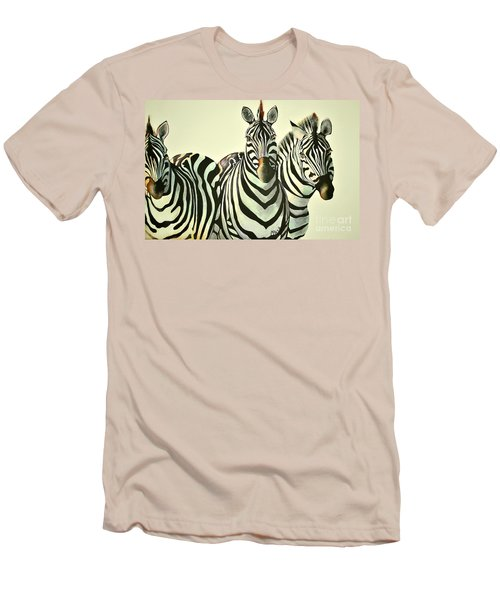 Men's T-Shirt (Slim Fit) featuring the painting Colorful Zebras Painting by Maja Sokolowska