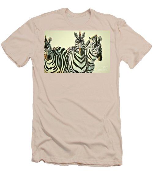 Colorful Zebras Painting Men's T-Shirt (Slim Fit) by Maja Sokolowska