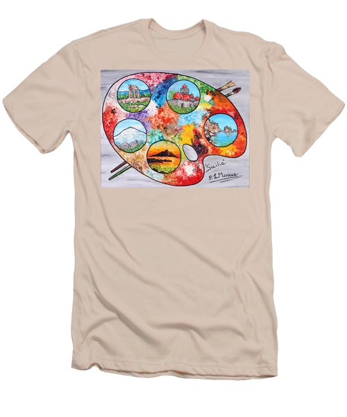 Men's T-Shirt (Slim Fit) featuring the painting Colori Di Sicilia by Loredana Messina