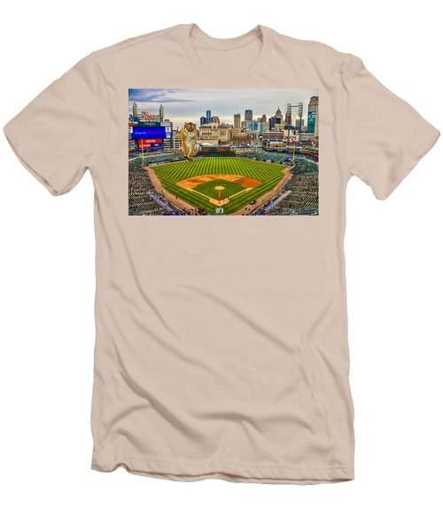 Men's T-Shirt (Slim Fit) featuring the photograph Comerica Park Detroit Mi With The Tigers by Nicholas  Grunas