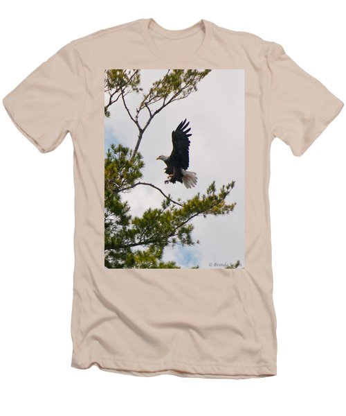 Men's T-Shirt (Slim Fit) featuring the photograph Coming In For A Landing by Brenda Jacobs