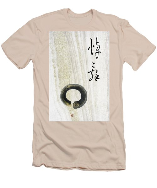 Men's T-Shirt (Slim Fit) featuring the mixed media Condolences Tooji With Enso Zencircle by Peter v Quenter