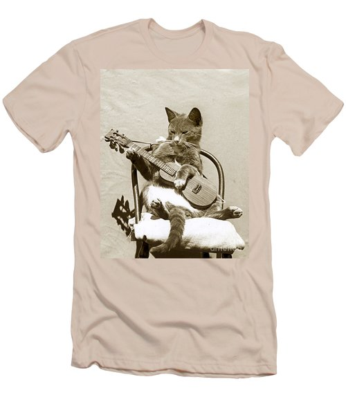 Men's T-Shirt (Slim Fit) featuring the photograph Cool Cat Playing A Guitar Circa 1900 Historical Photo By Photo  Henry King Nourse by California Views Mr Pat Hathaway Archives