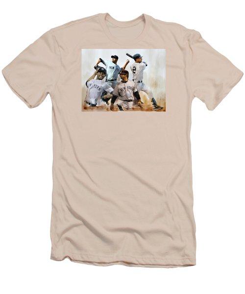 Core  Derek Jeter Mariano Rivera  Andy Pettitte Jorge Posada Men's T-Shirt (Slim Fit) by Iconic Images Art Gallery David Pucciarelli