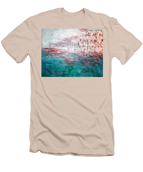 Cottages On The Bay  Men's T-Shirt (Slim Fit) by George Riney