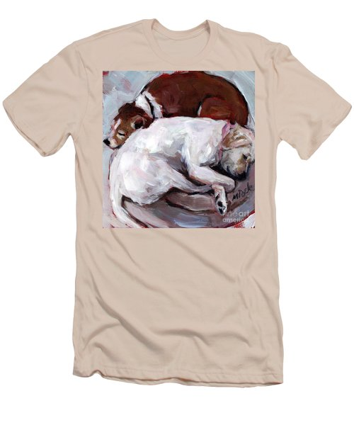 Men's T-Shirt (Slim Fit) featuring the painting Cottonball by Molly Poole