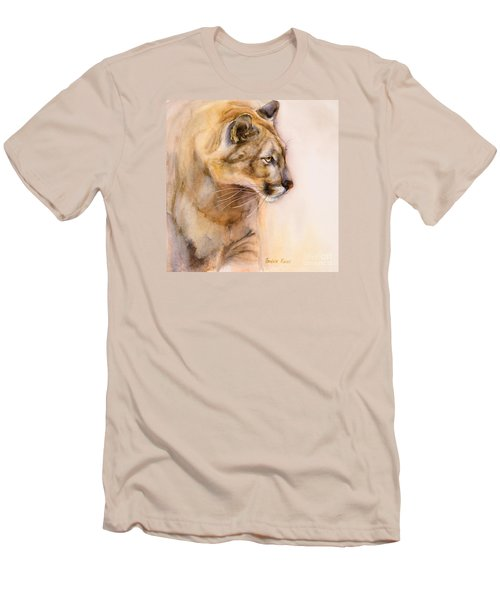 Men's T-Shirt (Slim Fit) featuring the painting Cougar On The Prowl by Bonnie Rinier