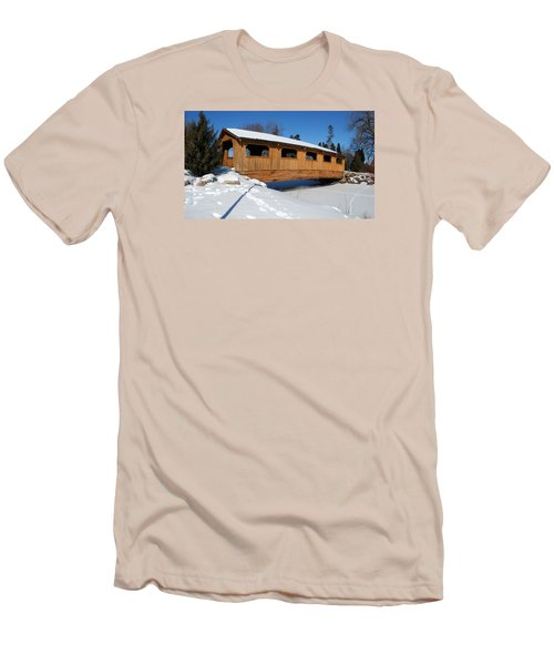 Men's T-Shirt (Slim Fit) featuring the photograph Covered Bridge Crossing The Stream by Janice Adomeit