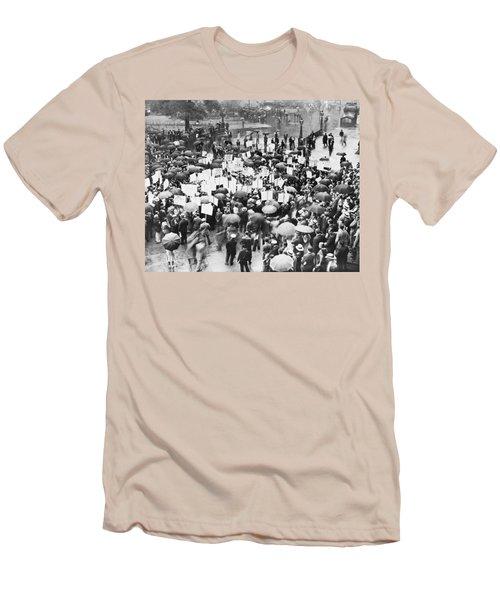 Crowd Protests Bank Failure Men's T-Shirt (Athletic Fit)