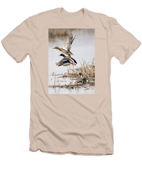 Crowded Flight Pattern Men's T-Shirt (Slim Fit) by Mike Dawson
