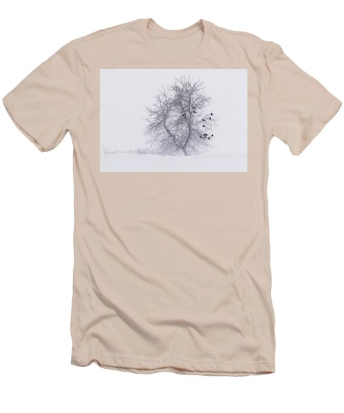 Crows On Tree In Winter Snow Storm Men's T-Shirt (Slim Fit) by Peter v Quenter