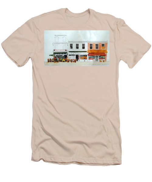 Men's T-Shirt (Slim Fit) featuring the painting Cutrona's Market On King St. by William Renzulli