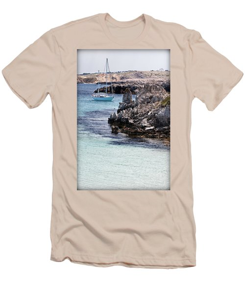 In Cala Pudent Menorca The Cutting Rocks In Contrast With Turquoise Sea Show Us An Awsome Place Men's T-Shirt (Athletic Fit)
