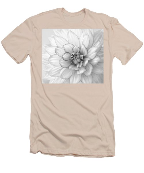 Dahlia Flower Black And White Men's T-Shirt (Athletic Fit)