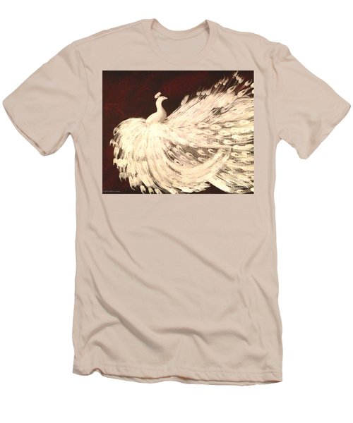 Men's T-Shirt (Slim Fit) featuring the painting Dancing Peacock Cream by Anita Lewis
