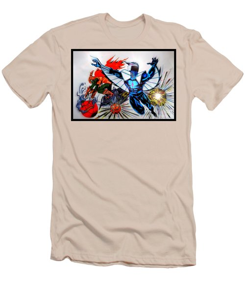 Men's T-Shirt (Slim Fit) featuring the drawing Darkhawk Vs Hobgoblin Focused by Justin Moore