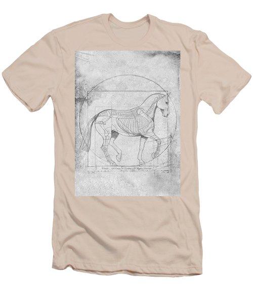Da Vinci Horse Piaffe Grayscale Men's T-Shirt (Athletic Fit)