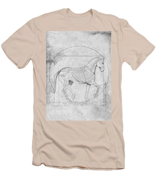Da Vinci Horse Piaffe Grayscale Men's T-Shirt (Slim Fit) by Catherine Twomey