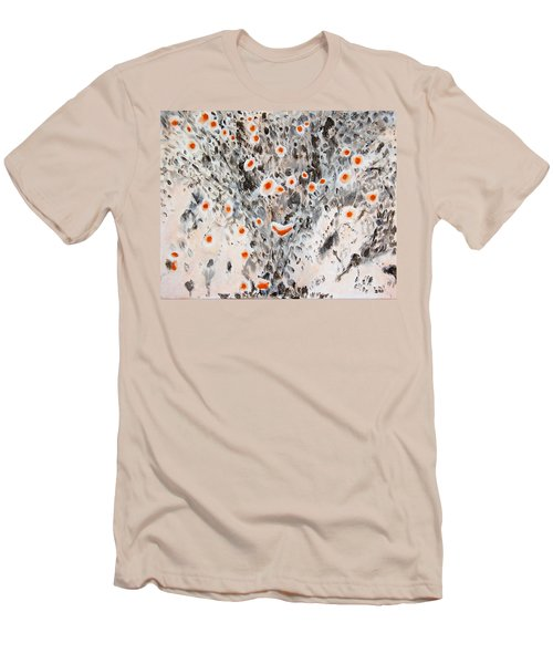 Men's T-Shirt (Athletic Fit) featuring the painting Desert In Bloom by Ben Gertsberg