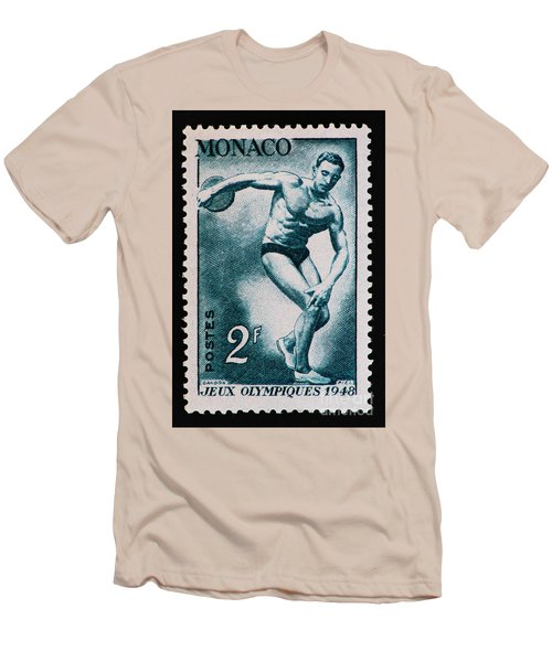 Discus Vintage Postage Stamp Print Men's T-Shirt (Slim Fit) by Andy Prendy