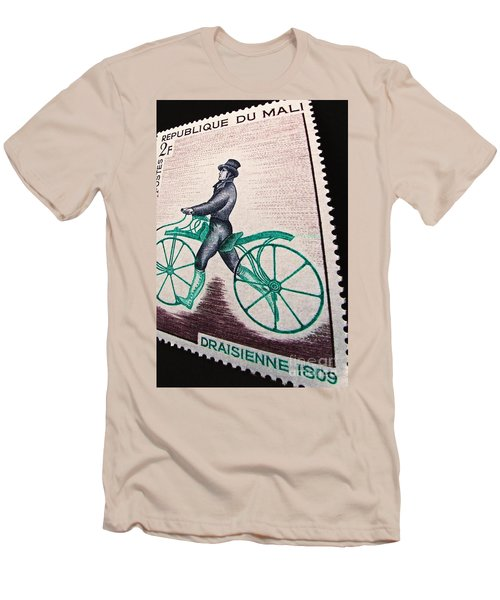 Men's T-Shirt (Slim Fit) featuring the photograph Draisienne 1809 Vintage Postage Stamp Print by Andy Prendy