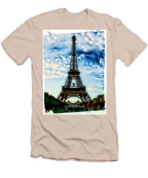 Men's T-Shirt (Slim Fit) featuring the photograph Dreamy Eiffel Tower by Kathy Churchman
