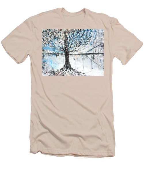 Men's T-Shirt (Slim Fit) featuring the painting Dreamy Spring by Evelina Popilian