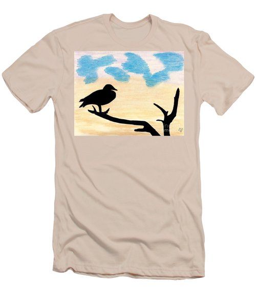 Men's T-Shirt (Slim Fit) featuring the drawing Duck Sunset by D Hackett