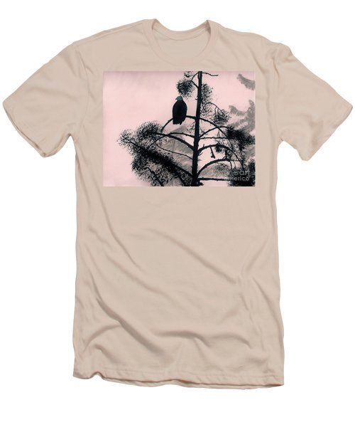 Men's T-Shirt (Slim Fit) featuring the drawing Eagle In Pink Sky by D Hackett